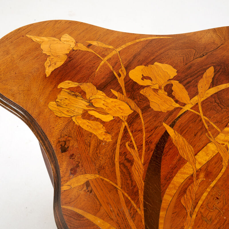 Emile Gallé, 'Art Nouveau Table With Irises, France', ca. 1900, Design/Decorative Art, Stained Beech, Rosewood, Mixed Wood Marquetry, Rago/Wright
