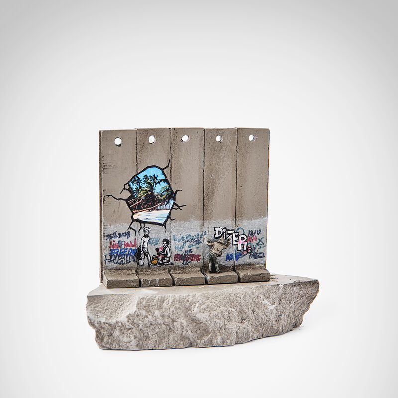 Banksy, 'Walled Off Hotel - Beach', Sculpture, Five-part Souvenir Wall Section, hand-painted resin sculpture with West Bank Separation Wall base, Tate Ward Auctions