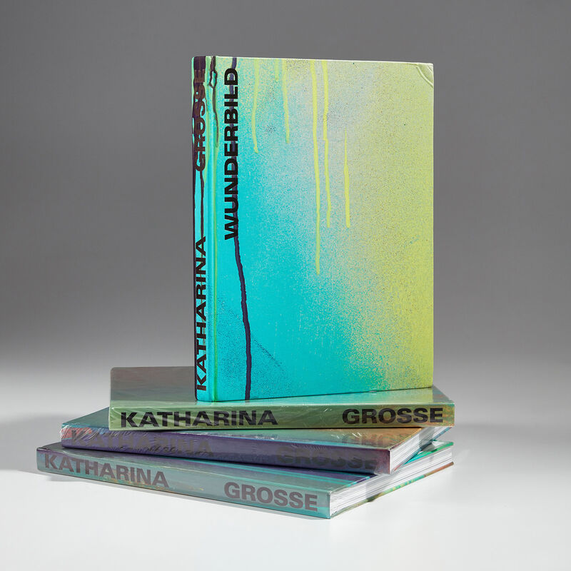 Katharina Grosse, 'Wunderbild (4 Exhibition Catalogues)', 2018, Mixed Media, Four exhibition catalogues with cover materials individually spray painted by the artist., Phillips