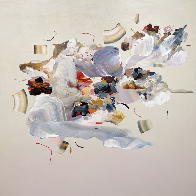 Janna Watson, 'Through the Clear Cut Rockies Sky', 2021, Painting, Acrylic, gouache, oil pastel, ink on Baltic birch panel, Kenise Barnes Fine Art