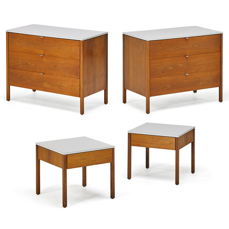 Florence Knoll, 'Pair Of Dressers And Nightstands, New York', 1960s, Design/Decorative Art, Walnut, Laminate, Chromed Metal, Rago/Wright