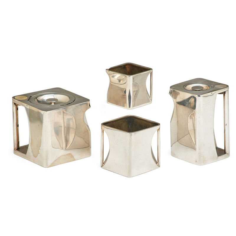 "Robert Crawford Johnson, 'Four-Piece ""The Cube"" Tea Set, England', 1920s, Design/Decorative Art, Silver-Plated Metal, Bakelite: Two Teapots, Creamer, Sugar, Rago/Wright"