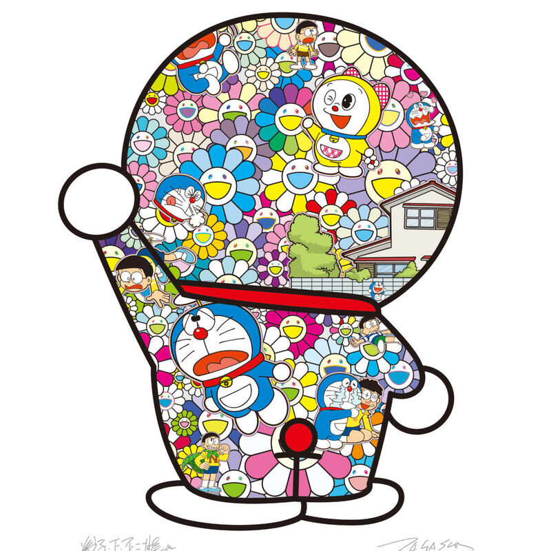 Takashi Murakami, 'Doraemon in the flower garden', 2020, Print, Offset print, with silver and high gloss varnishing, Pinto Gallery