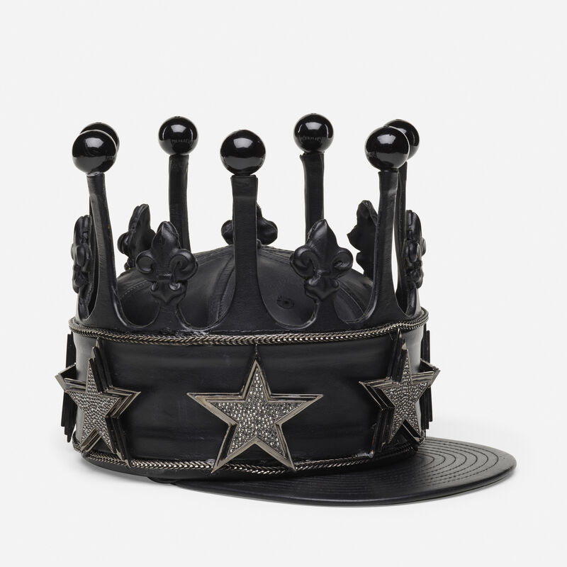 Rashaad Newsome, 'Fitted Crown', 2011, Fashion Design and Wearable Art, 59Fifty hat, leather, chain, jewelry, Rago/Wright/LAMA
