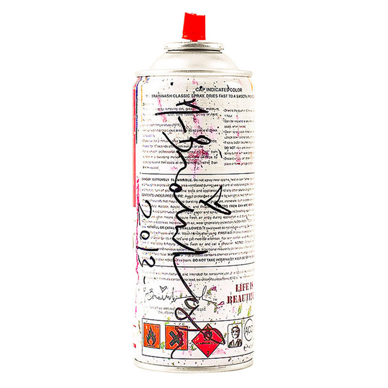 Mr. Brainwash, 'SPRAY CAN WHITE (Hand-Finished)', 2013, Sculpture, Metal can with Original Mr. Brainwash label and White Paint, Silverback Gallery