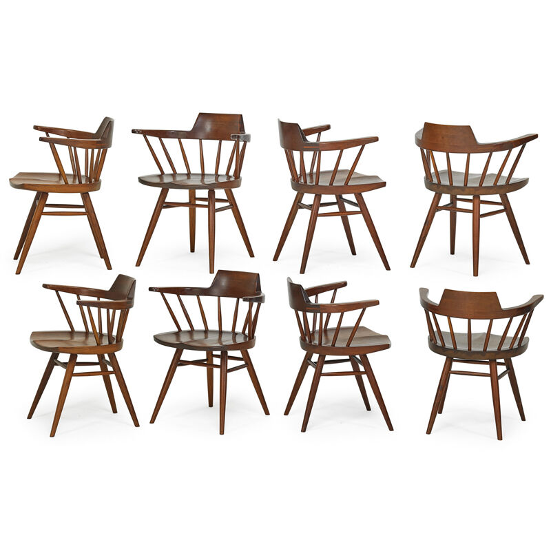 George Nakashima, 'Set Of Eight Captain's Chairs, New Hope, PA', 1964, Design/Decorative Art, Walnut, Rago/Wright/LAMA
