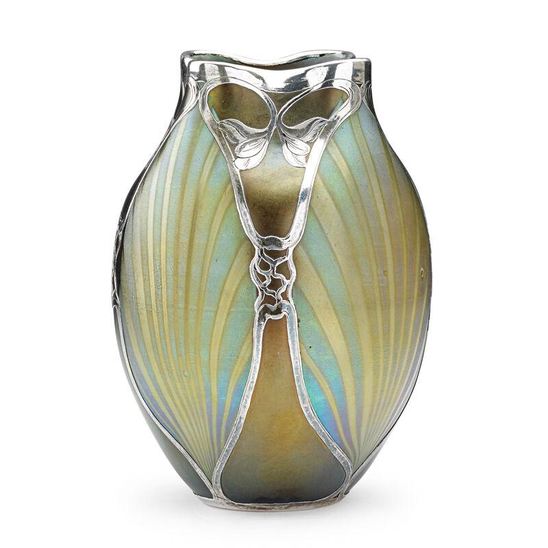 Loetz, 'Vase With Floral Overlay, Austria', ca. 1900, Design/Decorative Art, Blown Glass, Silver, Rago/Wright
