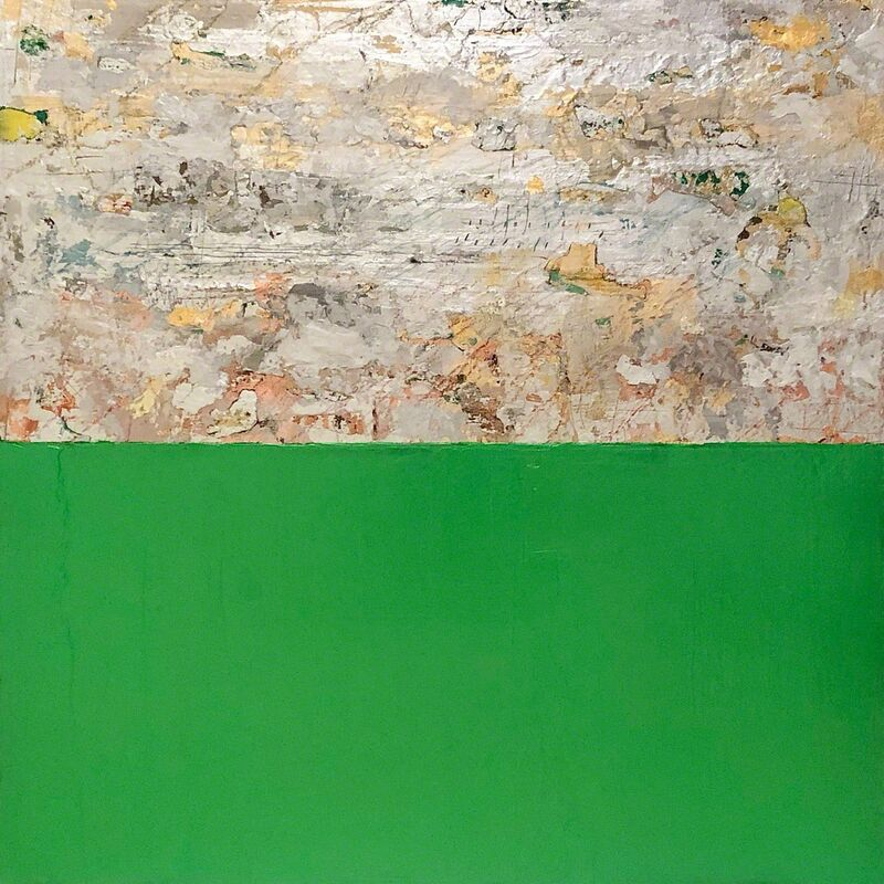 Takefumi Hori, 'Silver and Color 14 (Metallic Green)', 2018, Painting, Acrylic, silver and metal leaf on canvas, Arden Gallery Ltd.