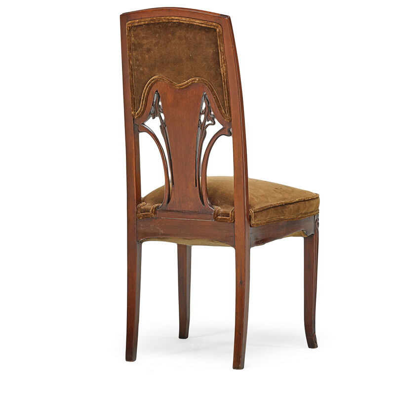 Emile Gallé, 'Art Nouveau Side Chair With Iris, France', ca. 1900, Design/Decorative Art, Carved Mahogany, Mixed Wood Marquetry, Upholstery, Rago/Wright