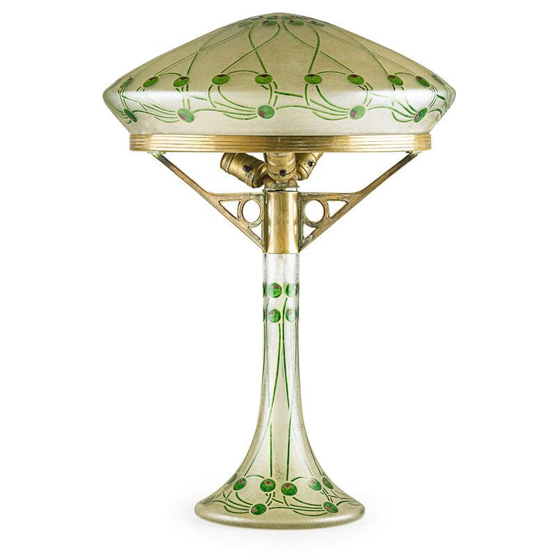 Ludwig Sutterlin, 'Fritz Heckert, Judgenstil Table Lamp, Bohemia, Germany', ca. 1910, Design/Decorative Art, Enameled and acid-eched glass, brass, three-sockets, Rago/Wright