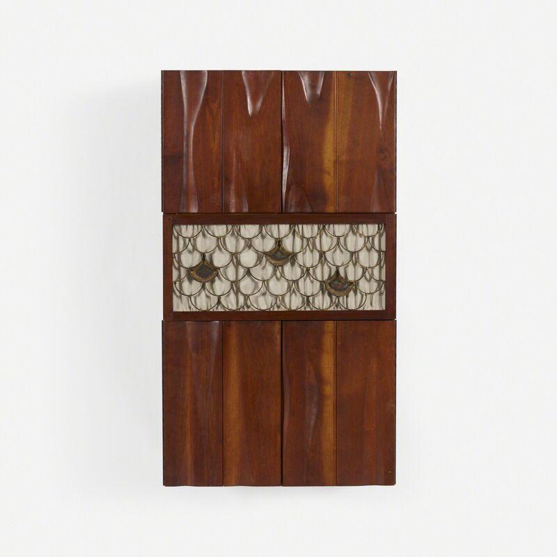 Phillip Lloyd Powell, 'Wall-Mounted Cabinet', c. 1962, Design/Decorative Art, American black walnut, welded and enameled steel, fabric, Rago/Wright/LAMA