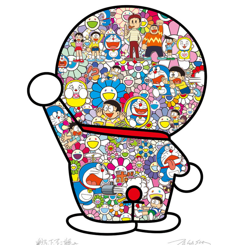 Takashi Murakami, 'Fujiko F. Fujio and Doraemon are in the flower garden', 2020, Print, Offset print, with silver and high gloss varnishing, Pinto Gallery
