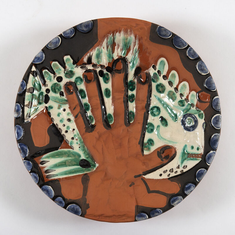 Pablo Picasso, 'Mains au poisson (A.R.214)', 1953, Design/Decorative Art, Ceramic painted in green, blue, ivory, black and brown. Decorated with engobes and deep engraving, glace partly brushed., HELENE BAILLY GALLERY