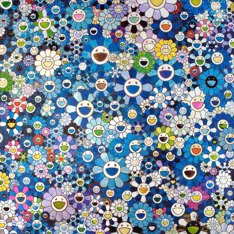 Takashi Murakami, 'Shangri-La Blue', 2016, Print, Offset print with silver, Lougher Contemporary