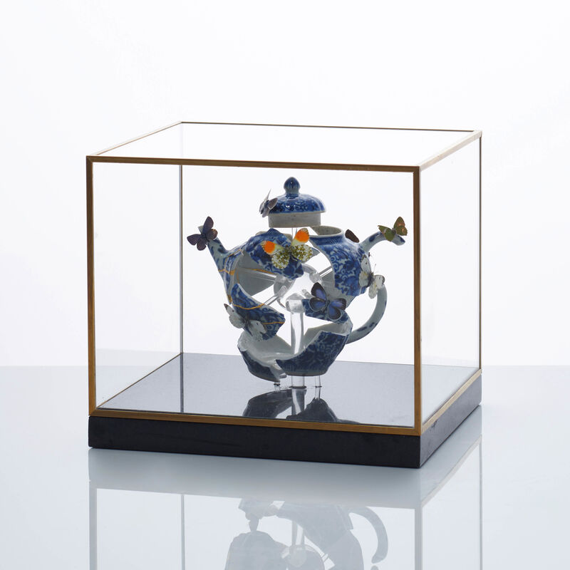 Bouke de Vries, 'Teapot Still Life II', 2020, Sculpture, 18th century Kangxi Chinese teapot with butterflies and coccinellidae within a contemporary box with a marble base, Adrian Sassoon