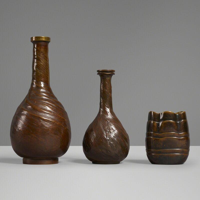 Evan Jensen, 'Vases, set of three', c. 1937, Design/Decorative Art, Cast bronze, Rago/Wright