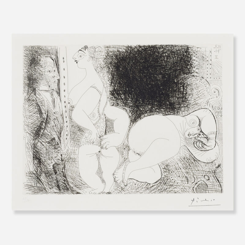 Pablo Picasso, 'Filles au Repos, avec Degas Songeur (from Series 156)', 1971, Print, Etching with drypoint on Rives BFK paper, Rago/Wright/LAMA