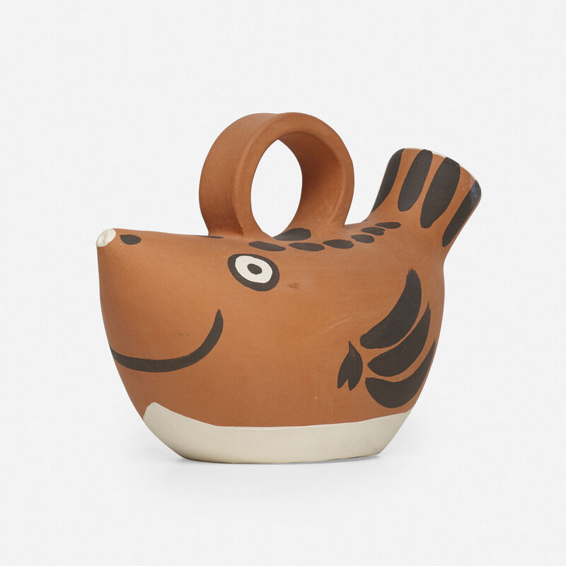 Pablo Picasso, 'Sujet Poisson pitcher', 1952, Textile Arts, Earthenware with engobe decoration, Rago/Wright