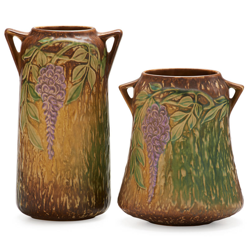 """Roseville Pottery, 'Two Brown Wisteria Vases, One 8"""" and one 10"""", Zanesville, OH', 1933, Design/Decorative Art, Rago/Wright/LAMA"""