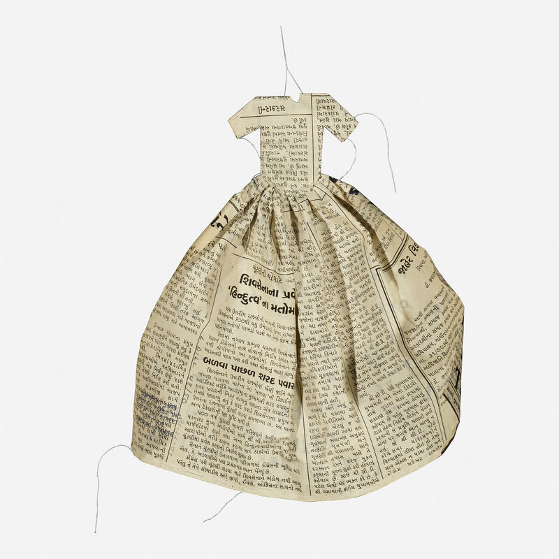 Lesley Dill, 'Poem Dress, The Soul Selects Her Own Society', 1993, Print, Lithograph on Indian newspaper with tea stains and thread, Rago/Wright/LAMA