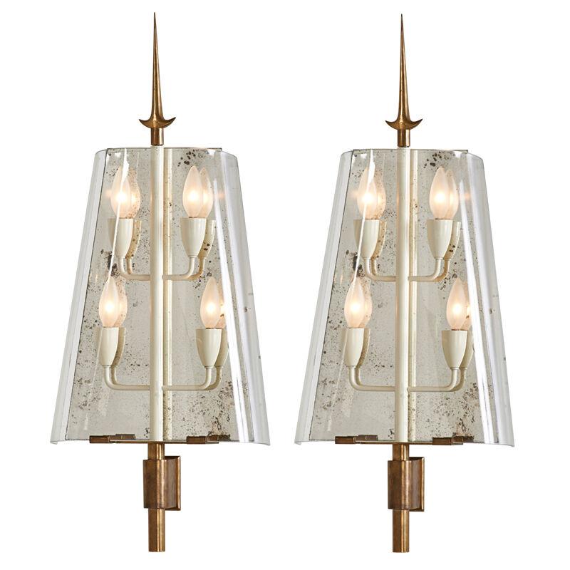 Fontana Arte, 'Pair of Sconces, Italy', 1940s/50s, Design/Decorative Art, Brass, Enameled Brass, Glass, Mirror, Four Sockets, Rago/Wright