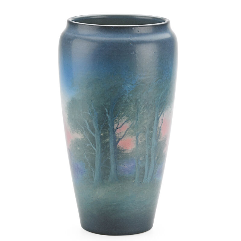 Edward T. Hurley, 'Rookwood, Tall Scenic Vellum Vase With Lake And Mountains (Uncrazed), Cincinnati, OH', 1925, Design/Decorative Art, Rago/Wright