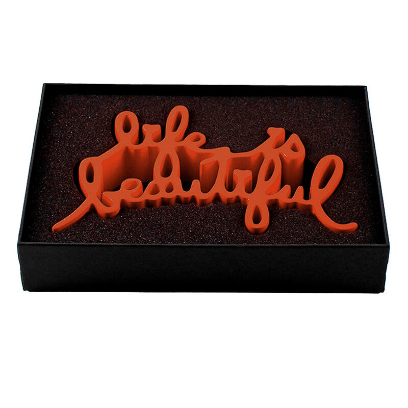 Mr. Brainwash, 'LIFE IS BEAUTIFUL SCULPTURE (Orange)', 2015, Sculpture, Cast resin thermal coated sculpture. Coated in orange color. Presented in custom black box with fitted foam insert., Silverback Gallery