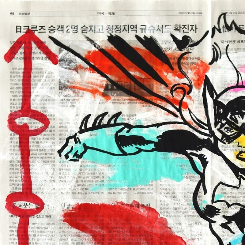 Gary John, 'Batwoman Strikes!', 2021, Painting, Acrylic on Newspaper, Artspace Warehouse