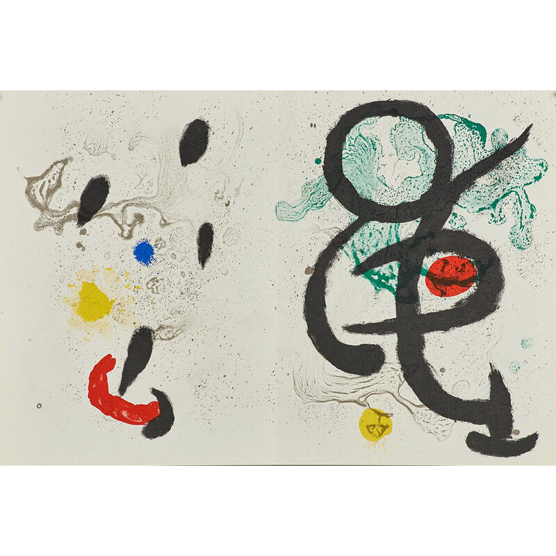 Joan Miró, 'Seven works: six lithographs in colors from Derrière le Miroir, together with exhibition poster Murales Peintures', ca. 1950's, Print, Lithographs in colors, Rago/Wright