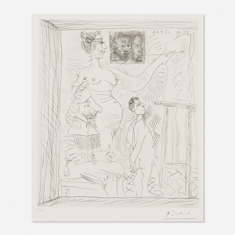 Pablo Picasso, 'L'Inspiration Travaille et le Peintre se Tourne les Pouces', 1967, Print, Drypoint, Rago/Wright