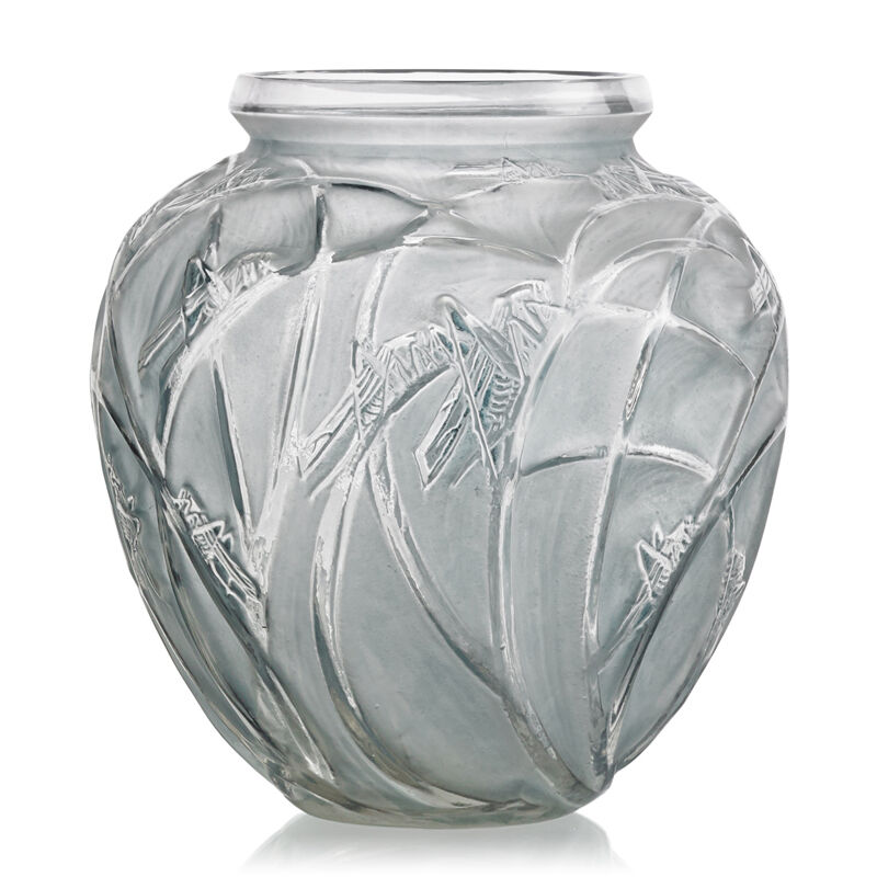 """Lalique, '""""Sauterelles"""" Vase, France, M P. 414, No. 888', des. 1912, Design/Decorative Art, Clear and frosted glass with blue patina, Rago/Wright"""
