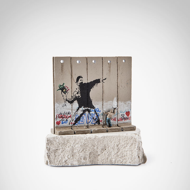 Banksy, 'Walled Off Hotel - Flower Thrower', Sculpture, Five-part Souvenir Wall Section, hand-painted resin sculpture with West Bank Separation Wall base, Tate Ward Auctions