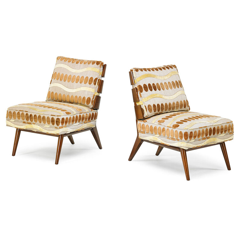 T.H. Robsjohn-Gibbings, 'Pair Of Lounge Chairs, Grand Rapids, MI', 1950s, Design/Decorative Art, Walnut, upholstery, Rago/Wright