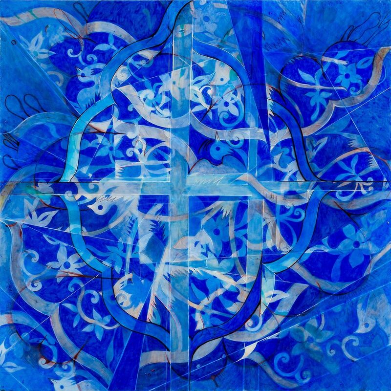Barbara Strasen, 'Birds and Flowers (Blue)', 2011-2012, Painting, Mixed Media, Ethos Contemporary Art