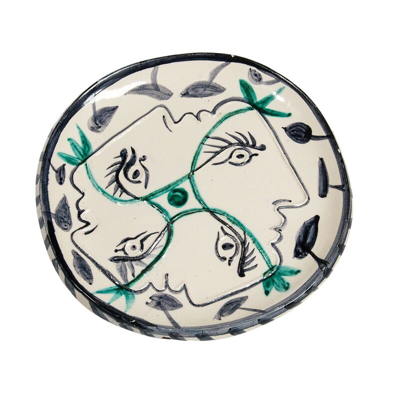 Pablo Picasso, 'Four Enlaced Profiles', 1949, Design/Decorative Art, Round/square white earthenware plate glazed in white, blue, and green, Skinner