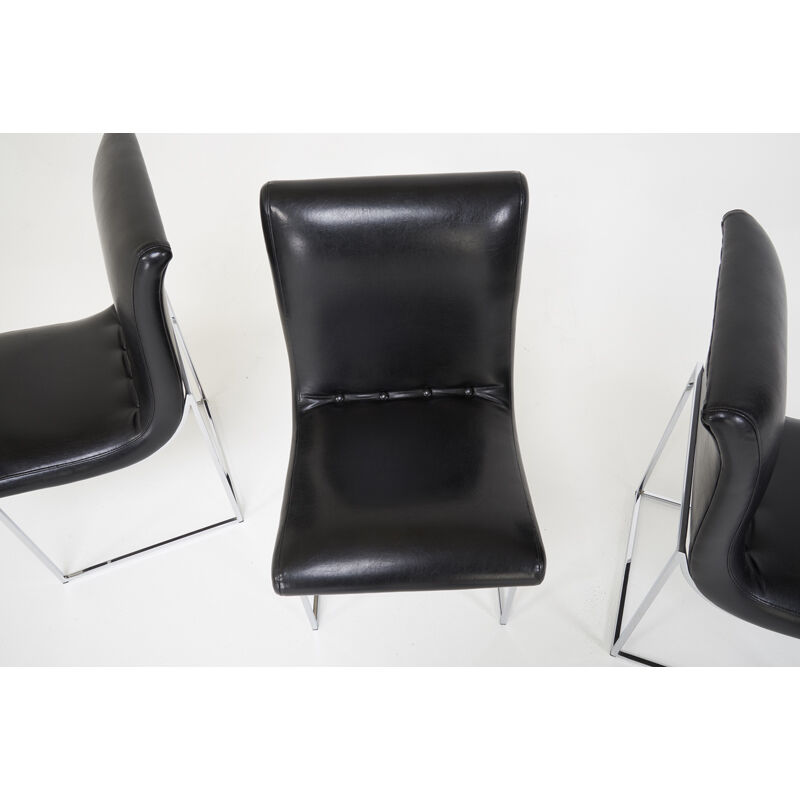 Milo Baughman, 'Six Dining Chairs, NC', 1980s, Design/Decorative Art, Chromed-Steel, Recycled Leather, Rago/Wright/LAMA