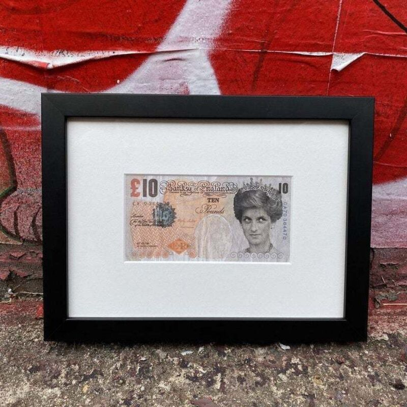 Banksy, ' Banksy Di - Faced Tenner Sold Out Mint Condition ', 2004, Ephemera or Merchandise, Framed By ROOQ Gallery In NYC Screen Print, New Union Gallery