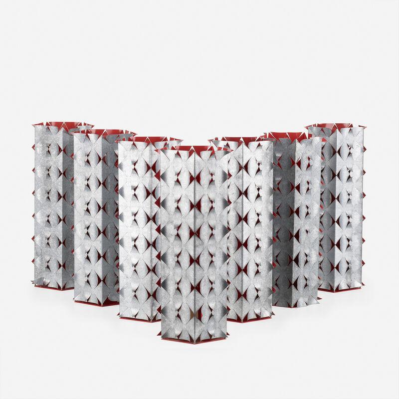 Richmond Burton, 'Seven Rose Lanterns', 1992, Design/Decorative Art, Steel, galvanized tin, lead and silver solder with painted finish, Rago/Wright