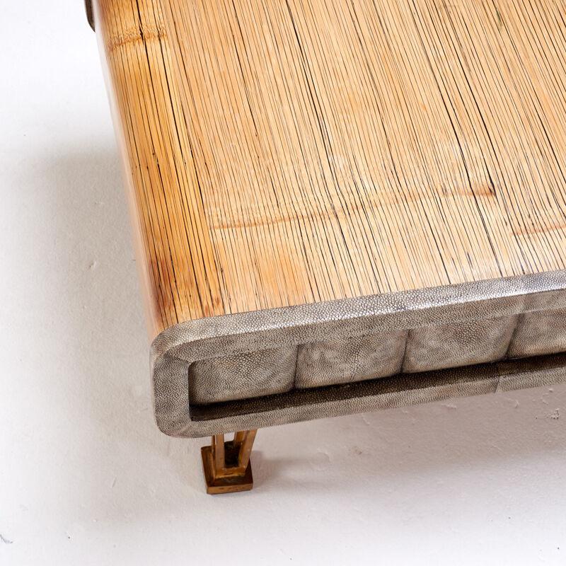 R & Y Augousti, 'Low Coffee Table, Paris', Late 20th C., Design/Decorative Art, Bronze, Shagreen, Bamboo, Rago/Wright