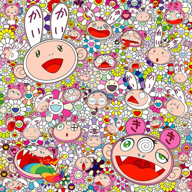 Takashi Murakami, 'Fortune Favors the Merry Home! Kaikai and Kiki ', 2017, Print, Offset Print with Silver and High Gloss Varnishing, Curator Style