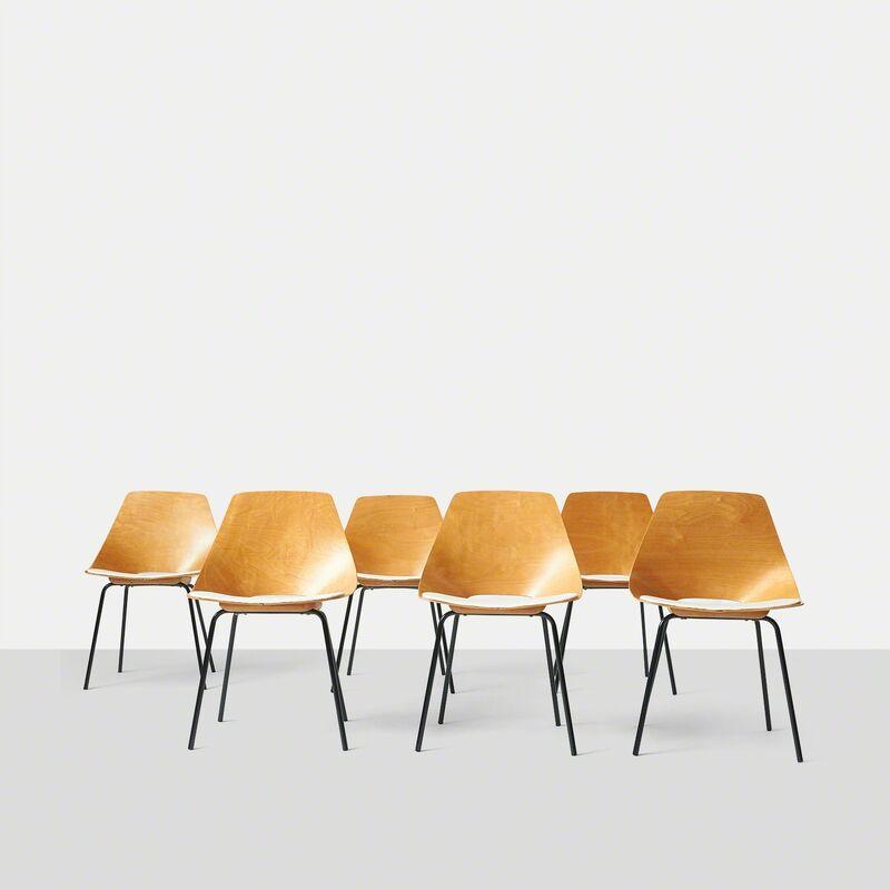 Pierre Guariche, 'A Group of Six Tonneau Chairs by Pierre Guariche', ca. 1954, Design/Decorative Art, Wood, Almond & Co.