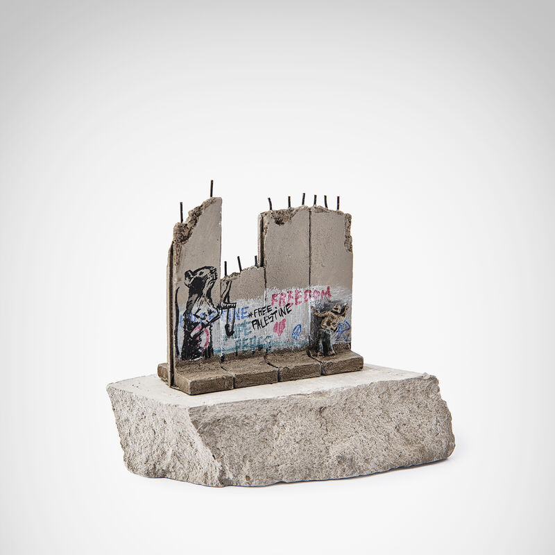 Banksy, 'Walled Off Hotel - Slingshot Rat', Sculpture, Four-part Souvenir Wall Section, hand-painted resin sculpture with West Bank Separation Wall base, Tate Ward Auctions