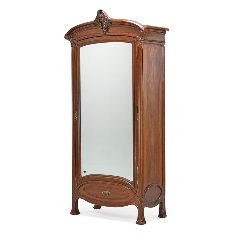 Edouard Diot, 'Large Art Nouveau Armoire, France', ca. 1900, Design/Decorative Art, Carved Mahogany, Brass, Mirrored Glass, Rago/Wright