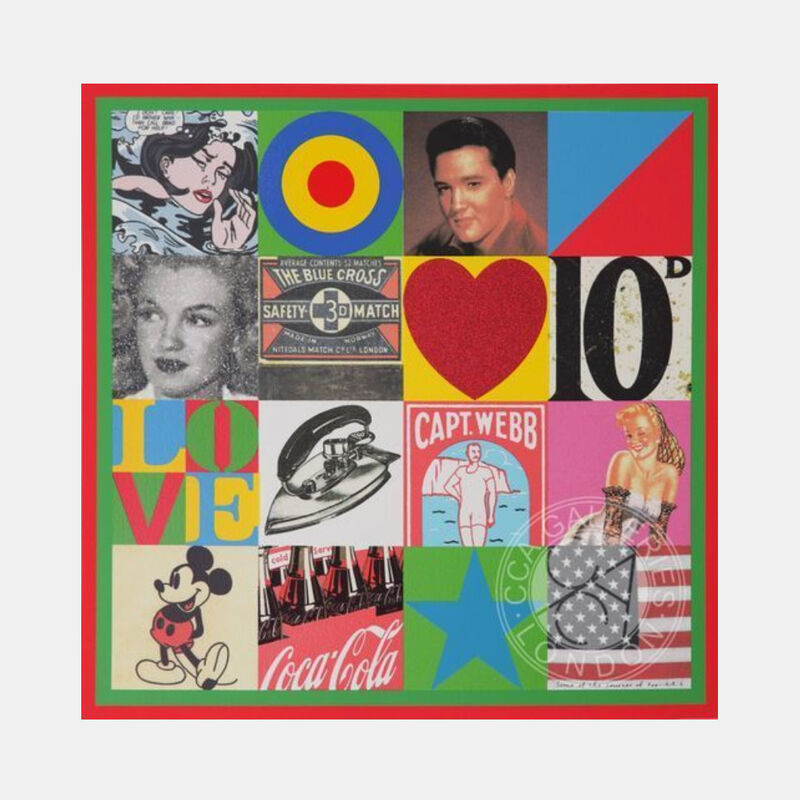 Peter Blake, 'Some of the Sources of Pop Art VI', 2007, Print, Screenprint in colours with glitter and diamond dust, Lougher Contemporary