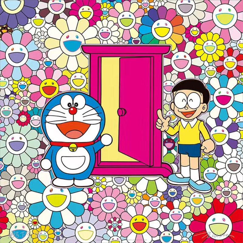"Takashi Murakami, '""Anywhere door"" in the flower garden  お花畑の中の「どこでもドア」', 2018, Print, Lithography, Suomei Gallery"