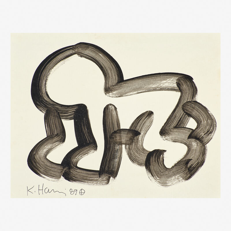 Keith Haring, 'Untitled (Crawling Baby)', 1989, Drawing, Collage or other Work on Paper, Ink on poster board, Rago/Wright