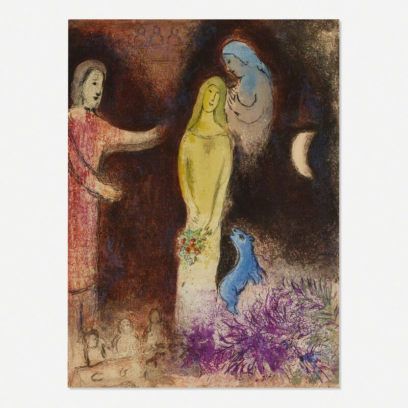 Marc Chagall, 'Chloe vetue et coiffee par Cleariste (from Daphnis et Chloe)', 1961, Print, Lithograph on paper, Rago/Wright