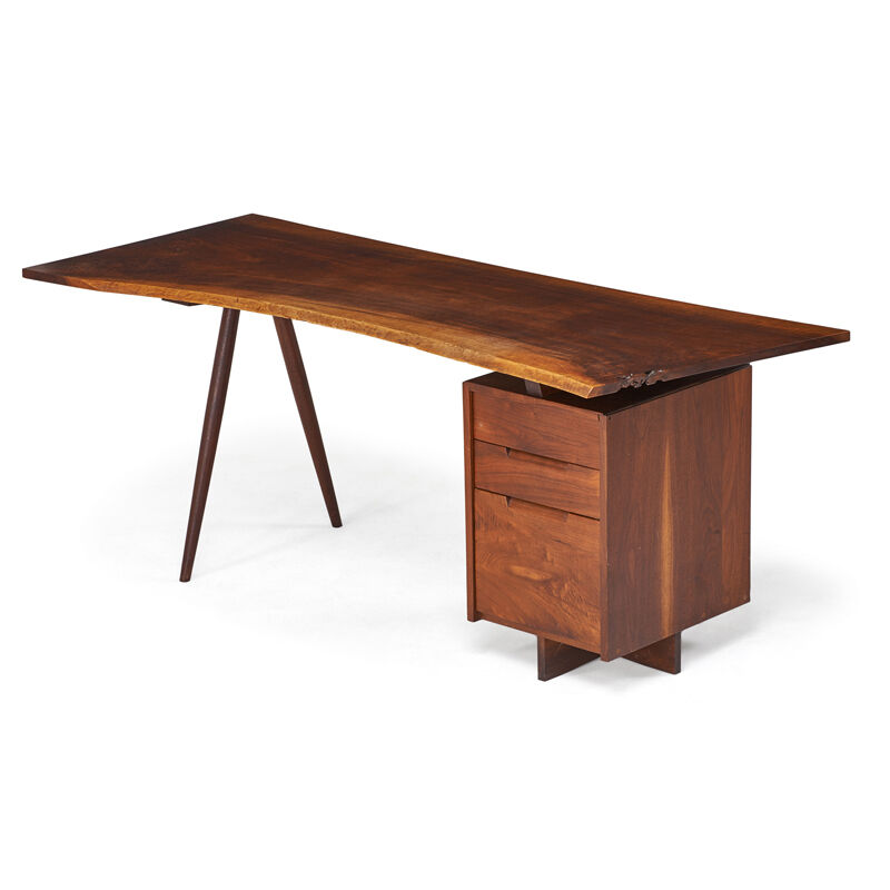 George Nakashima, 'Single Pedestal Turned-Leg Desk, New Hope, PA', 1955, Design/Decorative Art, Figured Walnut, Walnut, Rago/Wright