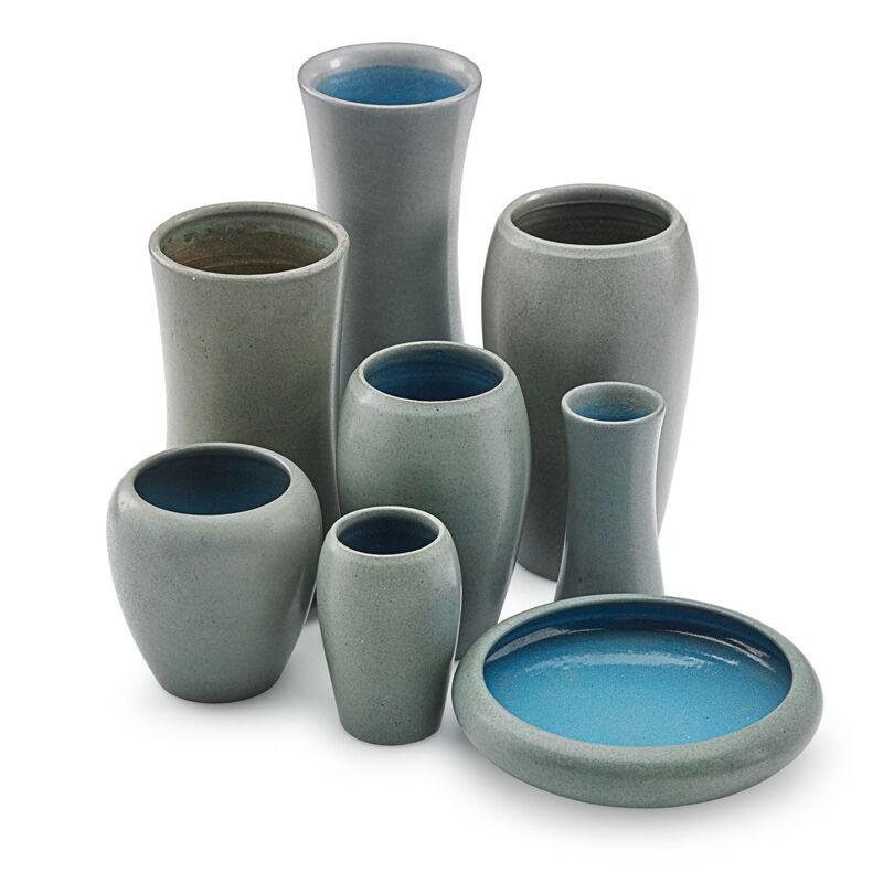 Marblehead Pottery, 'Eight Gray Vases, Marblehead, MA', Early 20th C., Design/Decorative Art, Rago/Wright/LAMA