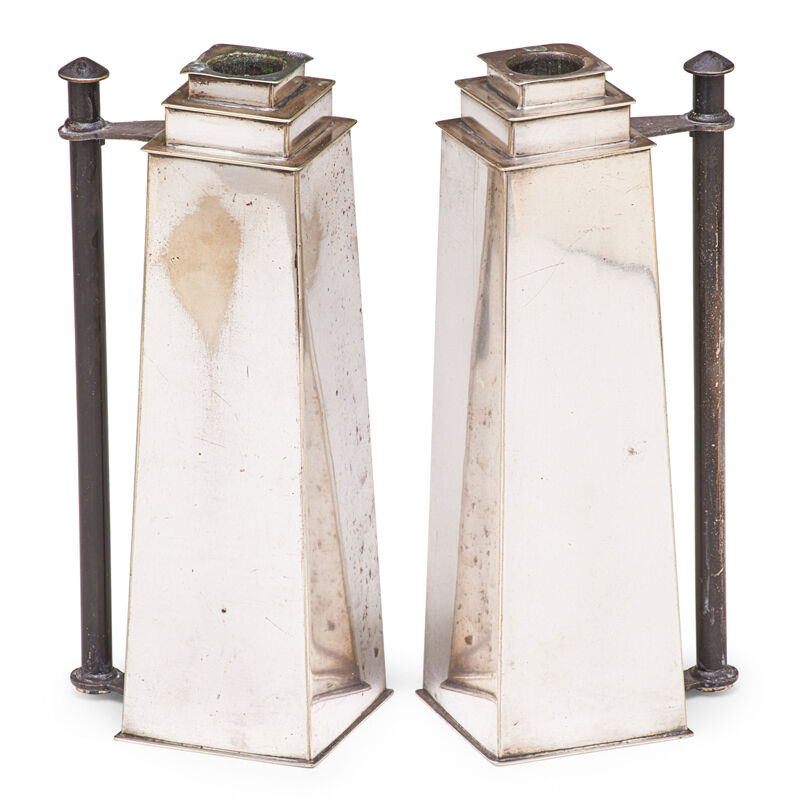 Louis W. Rice, 'Two Skyscraper Candlesticks From The Apollo Studio Line, New York', 1920s, Design/Decorative Art, Silver-plated brass, Rago/Wright